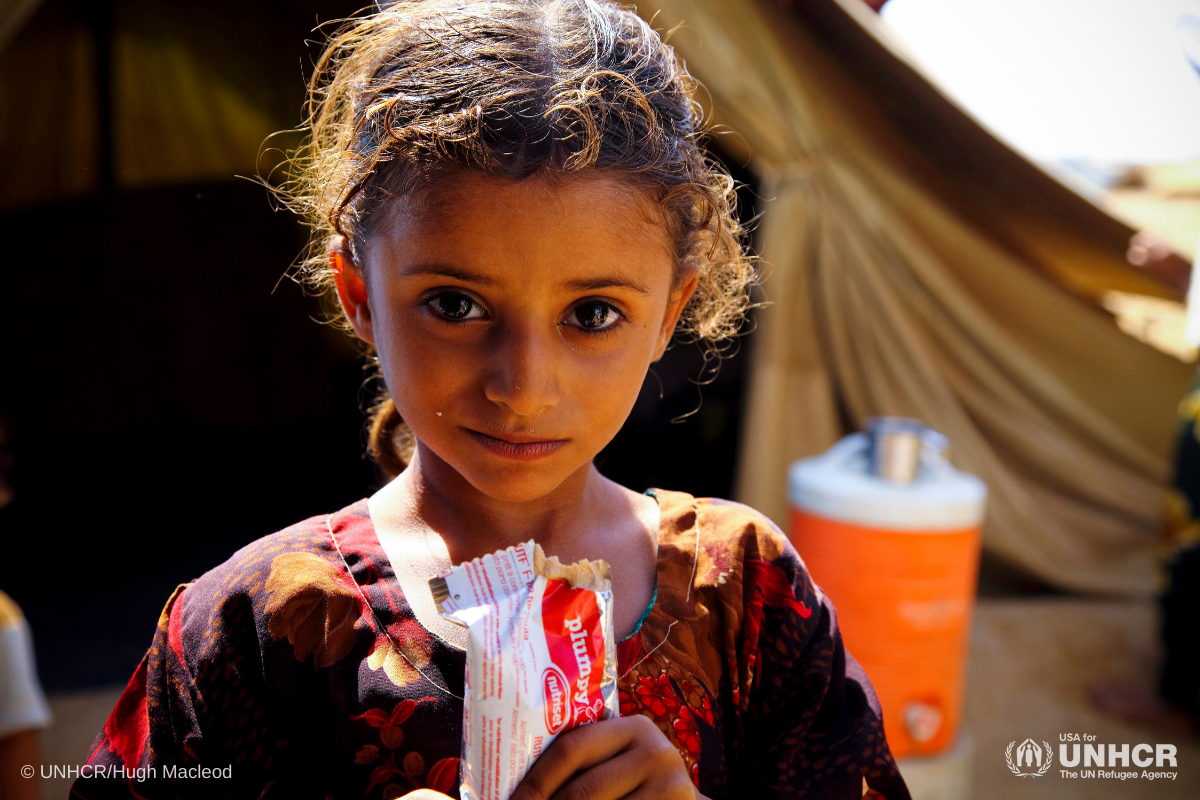 Shamha received nutritious food to recover from acute malnutrition